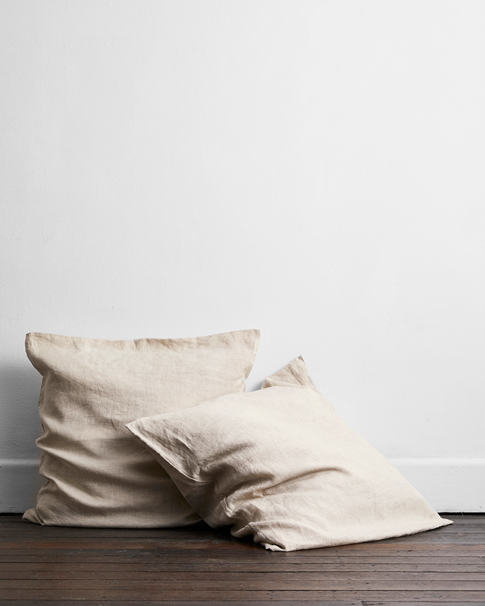 "Oatmeal 100% Flax Linen European Pillowcases (Set of Two), $60, [Bed Threads](https://bedthreads.com.au/products/oatmeal-100-flax-linen-european-pillowcases-set-of-two?variant=11267515383855|target=""_blank""