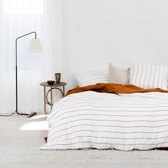 "Linen Duvet Cover Set - Cedar Stripe, Queen $365, [Cultiver](https://cultiver.com.au/products/linen-duvet-cover-set-cedar-stripe?variant=32891310571543 target=""_blank"" rel=""nofollow"")"