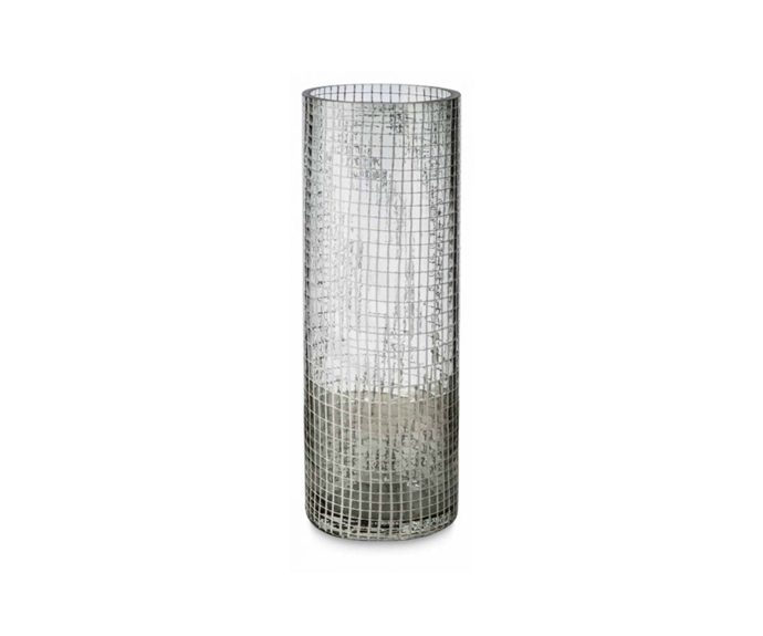 "Glass vase with White net, $59.95 for large, [April & Oak.](https://aprilandoak.com.au/glass-vase-with-white-net-medium-2|target=""_blank""