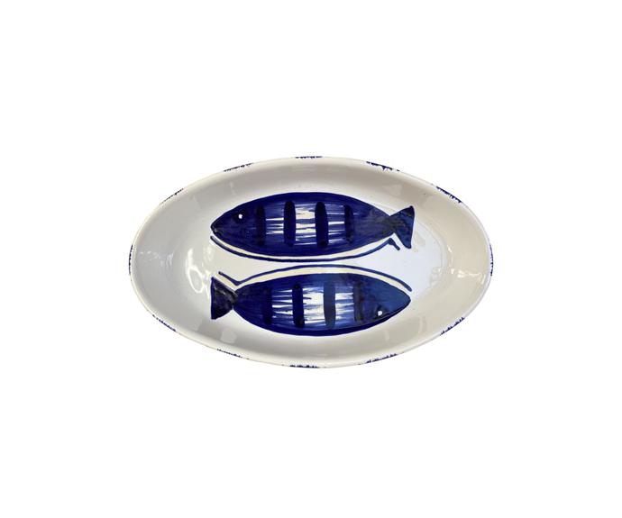 "Medium ceramic oval dish - blue fish, Puglia, Italy, $189, [Alex & Trahanas](https://alexandtrahanas.com/collections/ceramics/products/medium-ceramic-oval-dish-blue-fish-puglia-italy target=""_blank"" rel=""nofollow"")"
