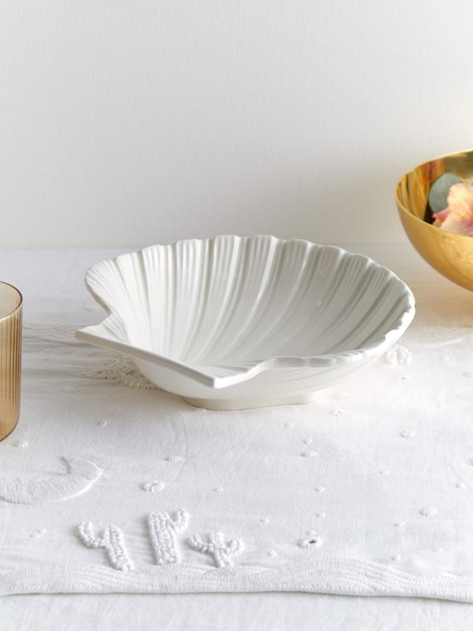"AERIN Shell medium earthenware platter, $277, [MatchesFashion.](https://www.matchesfashion.com/au/products/Aerin-Shell-medium-earthenware-platter-1343393|target=""_blank""
