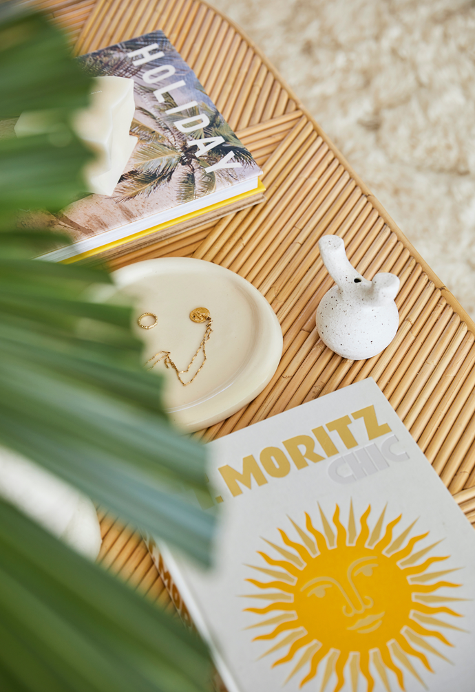 Travel tomes add a touch of summery style to the Sarah Ellison coffee table.