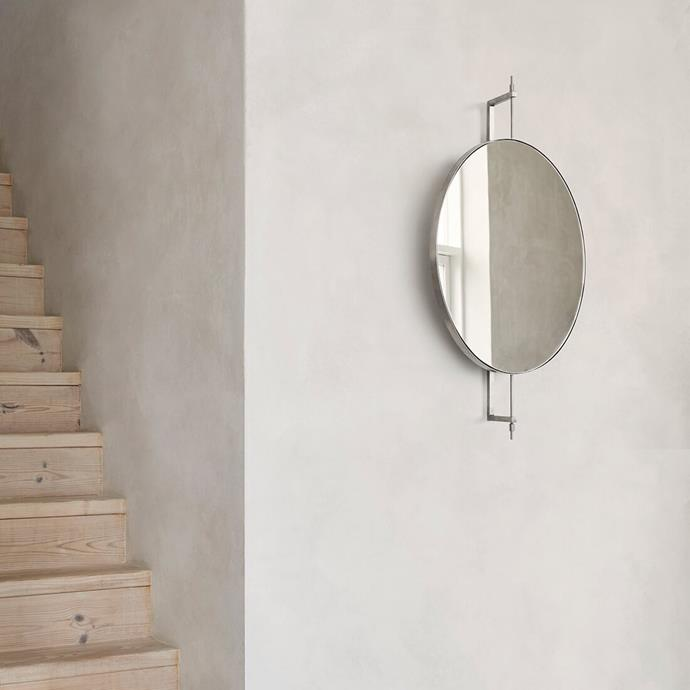 "Rotating Miroor in Beige by Kristina Dam, $1,099, [Floc Studio](https://flocstudio.com.au/product/rotating-mirror-beige/|target=""_blank""|rel=""nofollow"")"