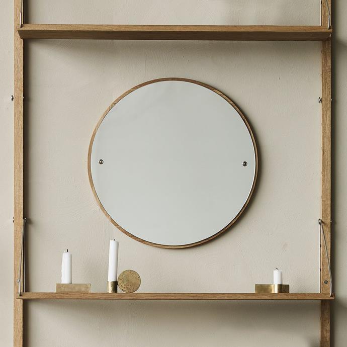 "Frama Circle Mirror, $1,139, [Design Stuff](https://www.designstuff.com.au/product/frama-circle-mirror-d60cm/|target=""_blank""|rel=""nofollow"")"