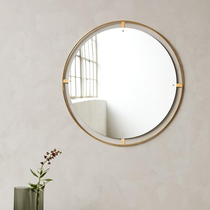 "Menu Nimbus Mirror Polished Brass, $2,400, [Design Stuff](https://www.designstuff.com.au/product/menu-nimbus-mirror-polished-brass-110cm/|target=""_blank""|rel=""nofollow"")"