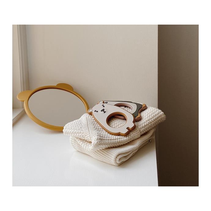 "Liewood Heidi Baby Play Mirror in Mustard, $36, [Design Stuff](https://www.designstuff.com.au/product/liewood-heidi-baby-play-mirror-mustard/|target=""_blank""|rel=""nofollow"")"