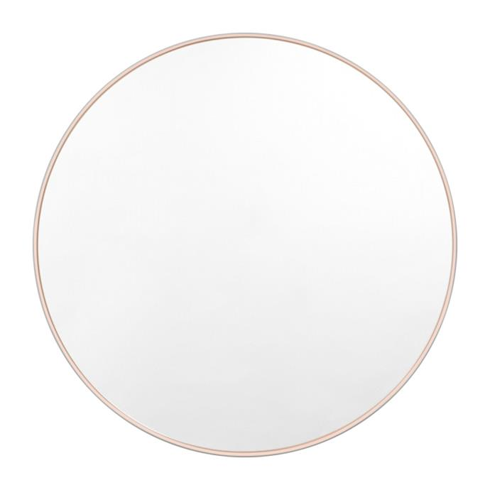 "Middle of Nowhere Bjorn Round Mirror in Powder, $419, [Life Interiors](https://lifeinteriors.com.au/products/middle-of-nowhere-bjorn-round-mirror-powder?gclid=CjwKCAiAo5qABhBdEiwAOtGmbgOFkHAHy9AJ-Zv72P2dZvIe_-OQRtji0ah4IOImWQql0ANzQalYJhoCZp0QAvD_BwE|target=""_blank""|rel=""nofollow"")"