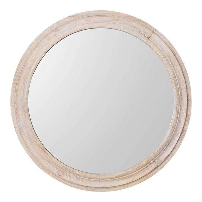 """Erwan Round Wall Mirror, $469, [Shine Mirrors](https://www.shinemirrors.com.au/collections/timber-framed-mirrors-online-australia/products/erwan-round-wall-mirror