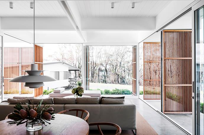 Clean-lined furnishings are in keeping with the home's overall Mid-Century-influenced style.