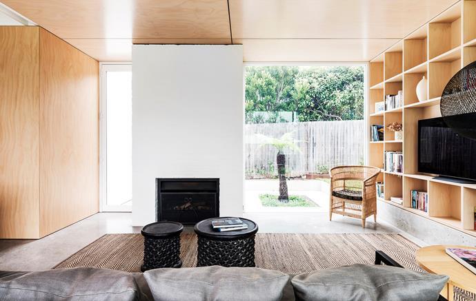Stools and similar Malawi chair from Orient House. Escea fireplace. Moooi 'Non Random' pendant light, Space. Sisal rug, International Floorcoverings.
