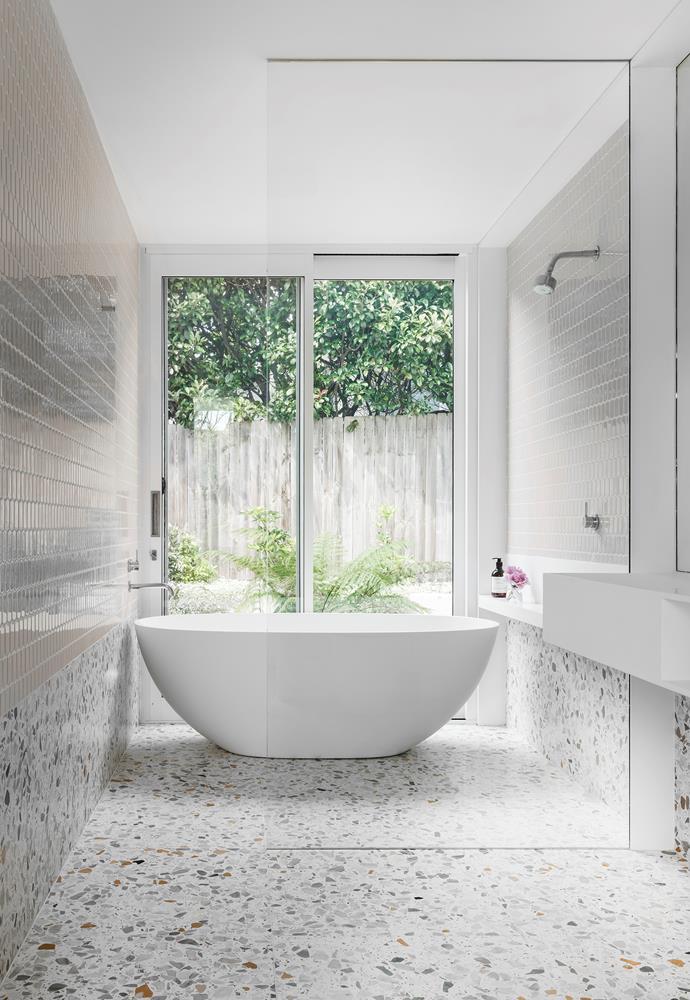 Rosa Mode bath, ACS Designer Bathrooms. Tapware, Astra Walker. Savoy Crystal wall tiles, Skheme. Ciottolo Grande terrazzo flooring, Inigo Jones.