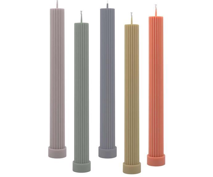 "Column pillar candles, $16 each, [Black Blaze](https://www.blackblaze.com.au/|target=""_blank""|rel=""nofollow"")."