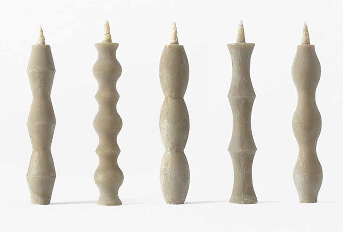 "Takazawa Nanao Candle, $95/set of 5, [Mr Kitly](https://mrkitly.com.au/products/takazawacandlenanaosetof5|target=""_blank""|rel=""nofollow"")."