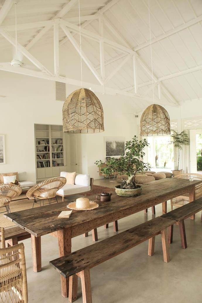 "Magali's Pascal's favourite item in [her Bali home](https://www.homestolove.com.au/magali-pascal-home-bali-21691|target=""_blank"") is the dining table that Matt built from recycled wood. ""It gives a very raw, natural feel to the space and is the centre of the house,"" she says.  Photographer: Matt Neville 