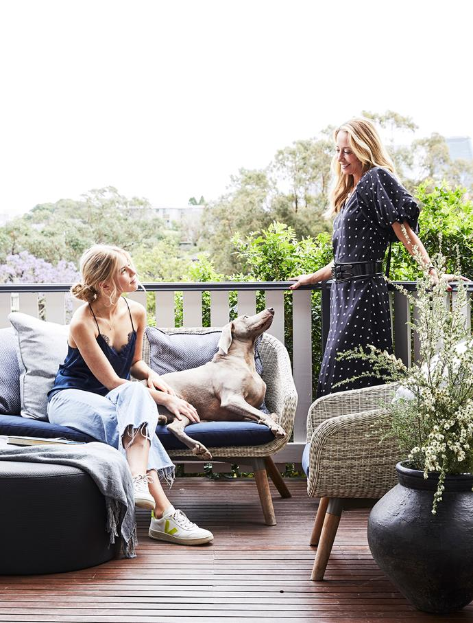 Homeowner Eugenie Kelly, her daughter Daisy, 15, and 