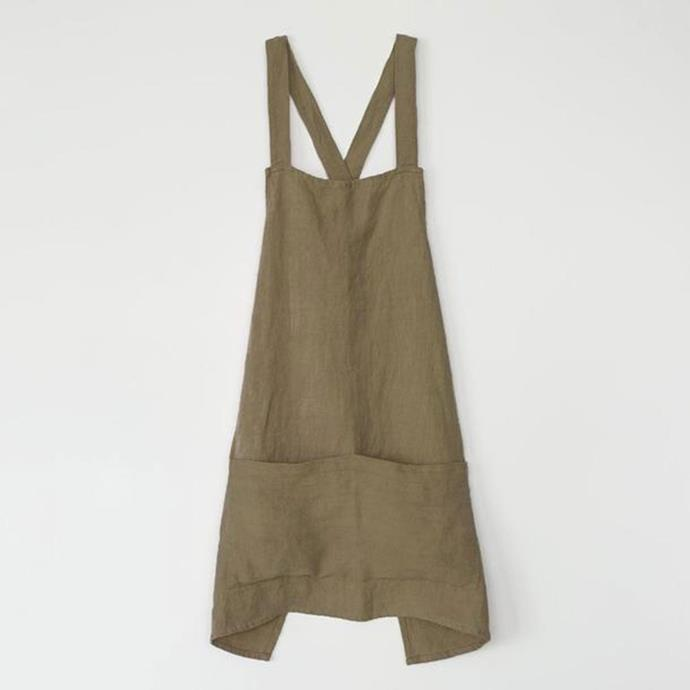 """Jude Linen Apron in Olive, $80, [Cultiver](https://cultiver.com.au/products/jude-linen-apron-olive?variant=29382497337367