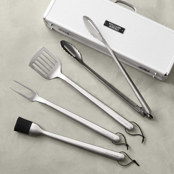 "Stainless Steel Handled 4-Piece Barbecue Tool Set with Storage Case, $198, [Williams Sonoma](https://www.williams-sonoma.com.au/ws-ss-handled-4-piece-bbq-tool-set-with-storage-case|target=""_blank""
