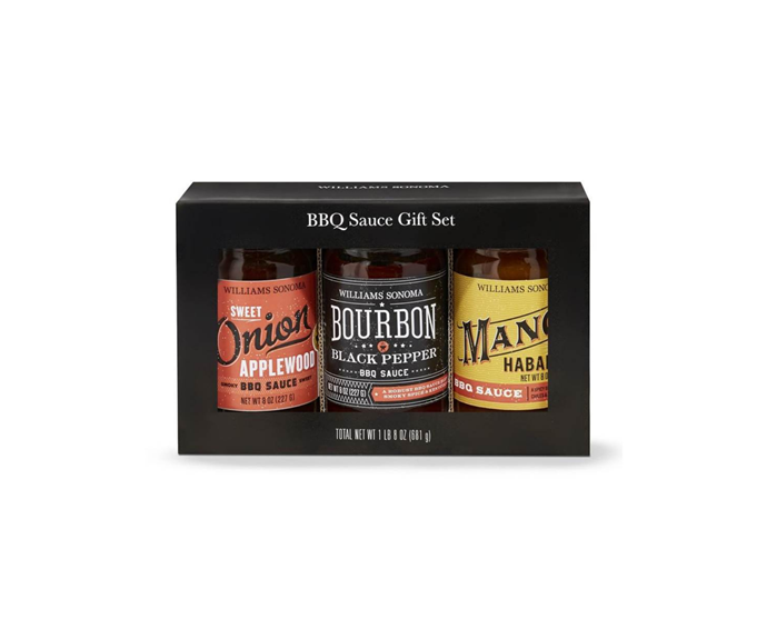 "BBQ Sauce Gift Set, $50, [Willams Sonoma](https://www.williams-sonoma.com.au/williams-sonoma-bbq-sauce-gift-set|target=""_blank""