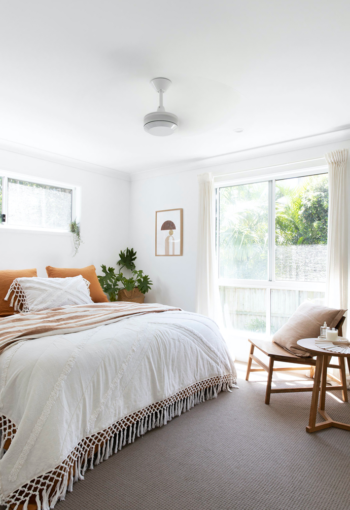 The main bedroom features linen from Sea Tribe and Society Of Wanderers.