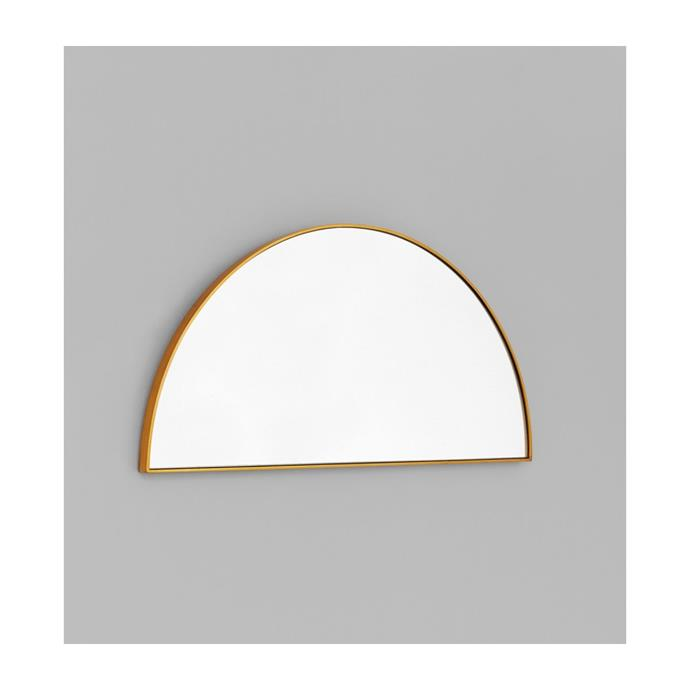 """Middle of Nowhere Bjorn Arch Low Mirror in Brass, $109, [Life of Interiors](https://lifeinteriors.com.au/products/middle-of-nowhere-bjorn-arch-low-mirror-brass