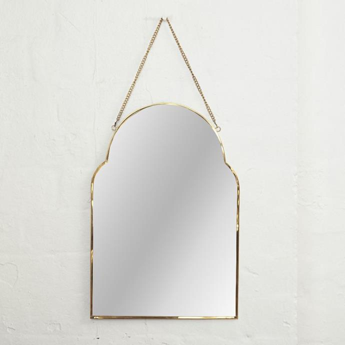 "Audre Arch Brass Mirror, $79, [The Block Shop](https://www.theblockshop.com.au/product/audre-arch-brass-mirror-l-pre-order/|target=""_blank""|rel=""nofollow"")"