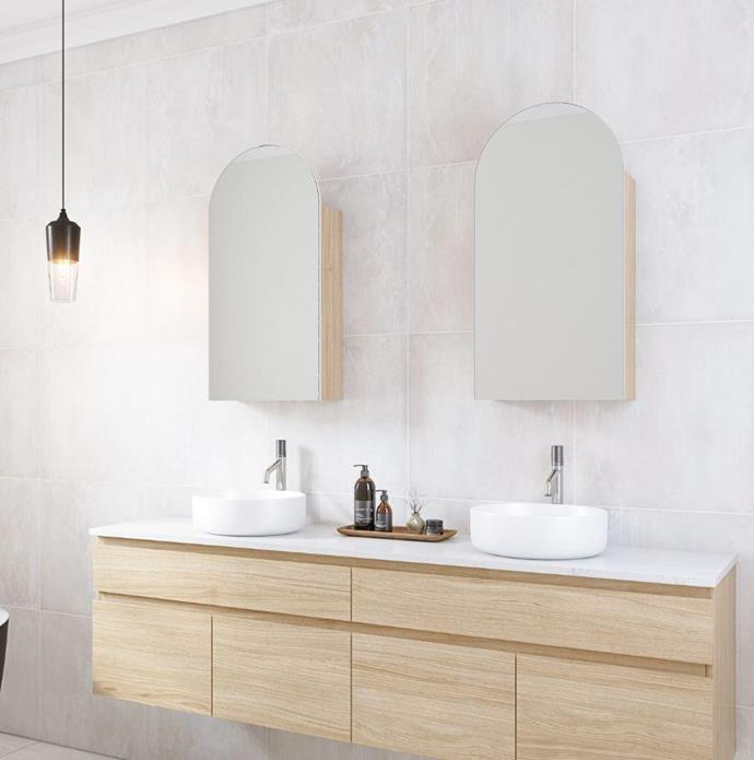 """Timberline Church Arch Shaving Cabinet, $814, [Accent Bathrooms](https://accentbathrooms.com.au/products/timberline-church-arch-shaving-cabinet
