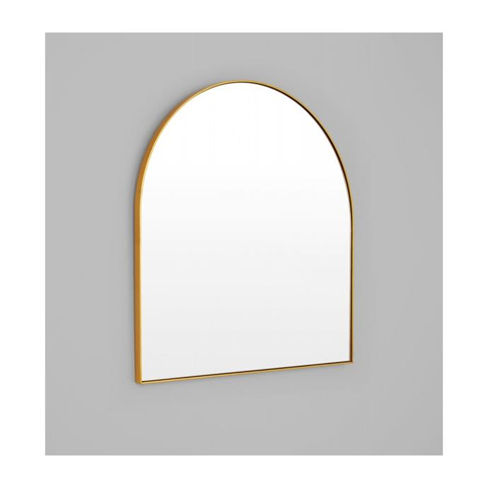 """Middle of Nowhere Bjorn Arch Mirror in Brass, $330, [Life Interiors](https://lifeinteriors.com.au/products/middle-of-nowhere-bjorn-arch-mirror-brass
