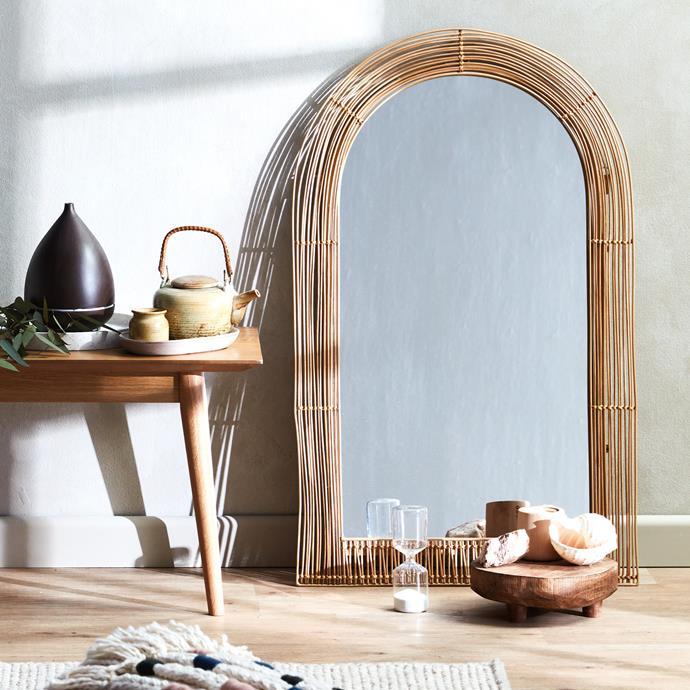"Tulum Arched Rattan & Metal Mirror, $139, [Temple & Webster](https://www.templeandwebster.com.au/Tulum-Arched-Rattan-and-Metal-Mirror-TMPL2064.html|target=""_blank""|rel=""nofollow"")"