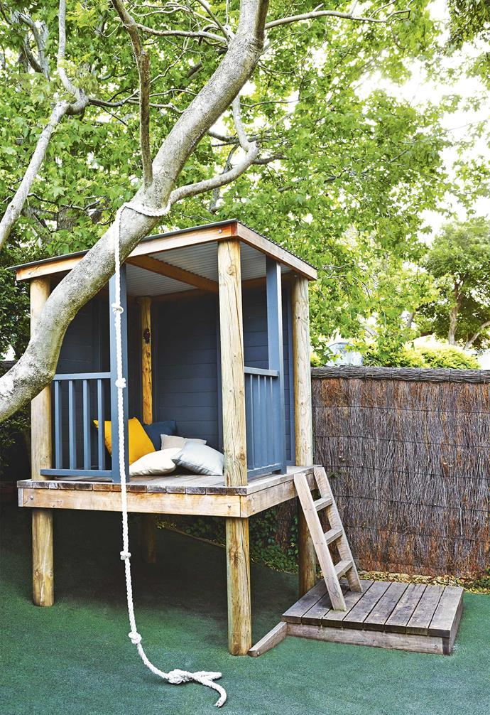 **Play area** This garden isn't just heaven for the grown-ups. The kids have their own corner of paradise, with a tree to climb and a designer cubby to play in