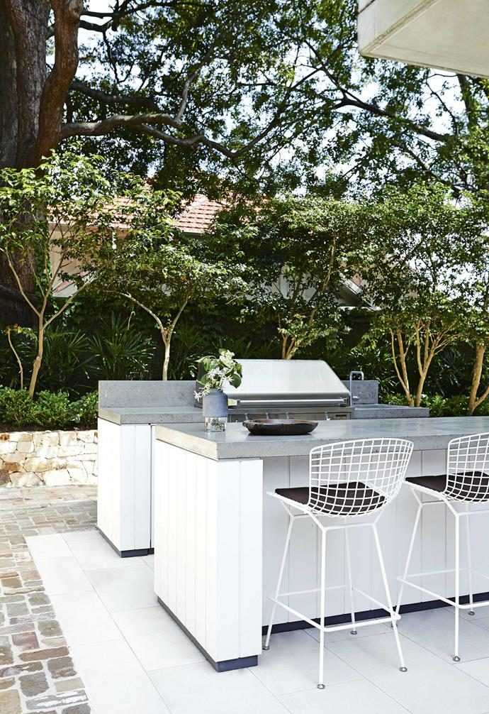 **Barbecue area** The shaded outlook ensures working the barbie stays a pleasure, not a chore, and makes dining on balmy summer evenings a delight