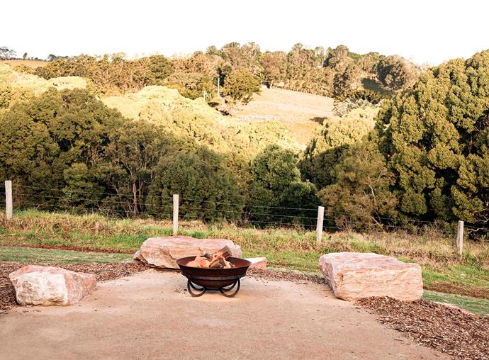 A fire pit overlooking the Byron Bay hinterland at The Plot.