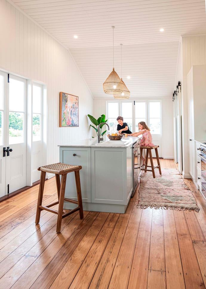Laird and Tilly in the kitchen, which was built and installed by Stephen and Sam from Nailed It Kitchens & Joinery.