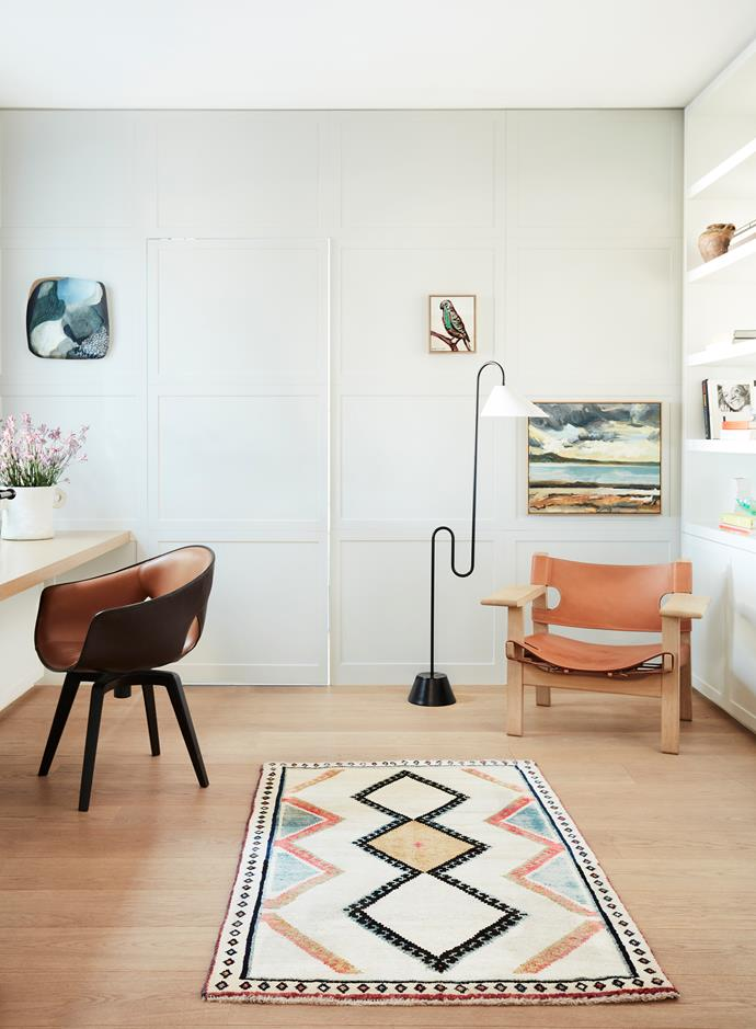 The study has a Poltrona Frau desk chair from Cult and a rug from Cadrys. 'Spanish' armchair from Great Dane. ClassiCon floor lamp from Anibou. Artworks by Emma Walker and Robert Malherbe. Bird painting from owner's collection.
