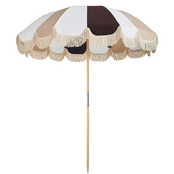 """Jardin Umbrella 2.1m – Tan, $799, [Basil Bangs](https://basilbangs.com/au/product/jardin-umbrella-2-1m-tan/ target=""""_blank"""" rel=""""nofollow"""") <br><br> Buy your loved one this umbrella and you'll both want to stay under-under-under-this-umbrella forever, together. Adorned with tassels, this Basil Bangs shade is the perfect addition to a romantic picnic or lazy beach day and will provide plenty of shade and style on a day outdoors."""