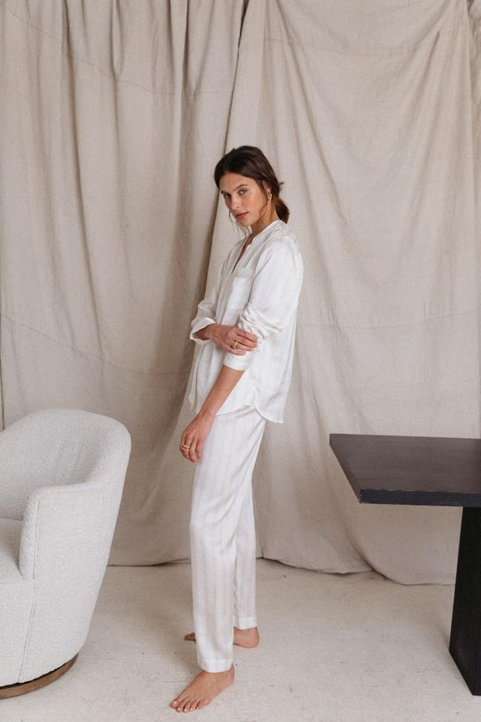 """Portofino Pyjama Set - Veneto Stripe, $149, [Jasmine and Will](https://www.jasmineandwill.com/portofino-pyjama-set-vaneto-stripe.html target=""""_blank"""" rel=""""nofollow"""") <br><br> If your Valentine's Day plans are just a night on the couch and Uber eats, this dreamy striped Jasmine and Will set will turn it into a sophisticated soirée."""