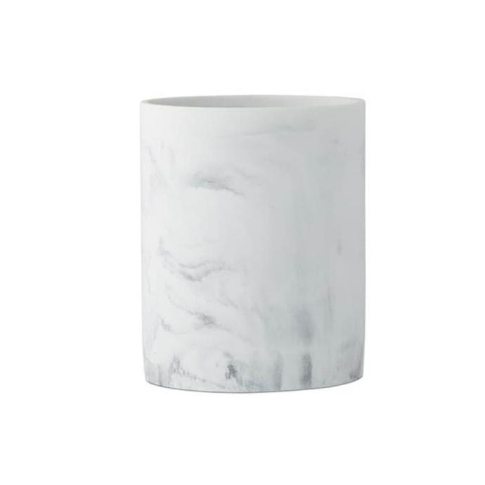 """Perfect for bathrooms or a home office, the Mercer + Reid Milan white bin makes a chic accessory that will add a luxe touch to a space with its marble-like appearance and matte finish. The bin size measures 24cm (H) x 20cm. $59.99, [Adairs](https://www.adairs.com.au/bathroom/bathroom-accessories/mercer-reid/milan-white-bin/