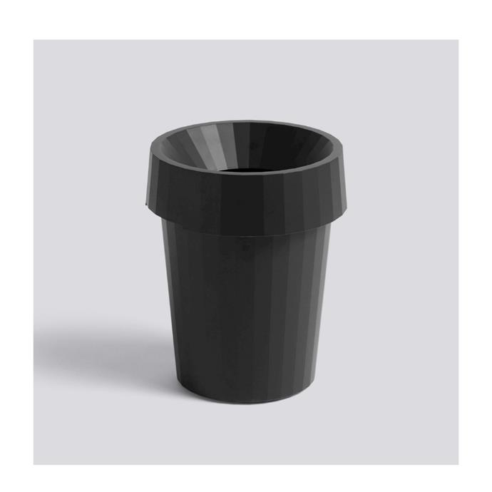 """Thomas Bentzen's Shade Bin for HAY combines utility with style. Made in durable polypropylene, the 14L rubbish bin has a matching lid and is available in a range of neutral colourways. This particular style is perfect for an office. $95, [design stuff](https://www.designstuff.com.au/product/hay-shade-bin-black-14l/