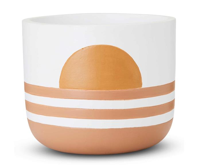 "**Home Republic Sun Rise White Stripes Pot 29cm, $79.99, [Adairs](https://www.adairs.com.au/homewares/pots-plants/home-republic/sun-rise-white-stripes-pot/|target=""_blank""