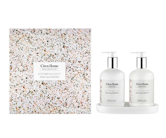 "**White Tea & Wild Mint Hand Care Gift Set, $59.95, [Circa Home](https://circahome.com.au/collections/kitchen-alchemy/products/white-tea-wild-mint-gift-set?variant=32689573527689|target=""_blank""