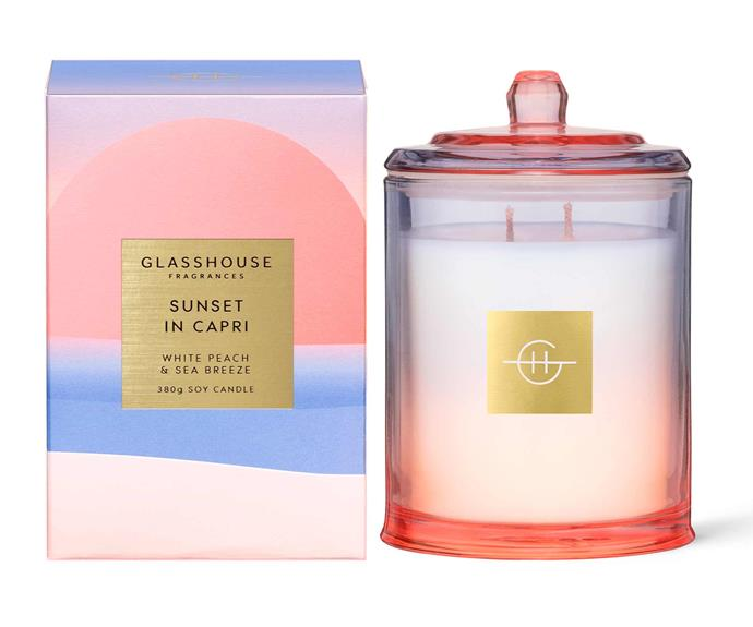 "**Sunset in Capri 380g Candle, $54.95, [Glasshouse Fragrances](https://www.glasshousefragrances.com/collections/home-fragrance/products/sunsets-in-capri-380g-candle?variant=32971983978580|target=""_blank""