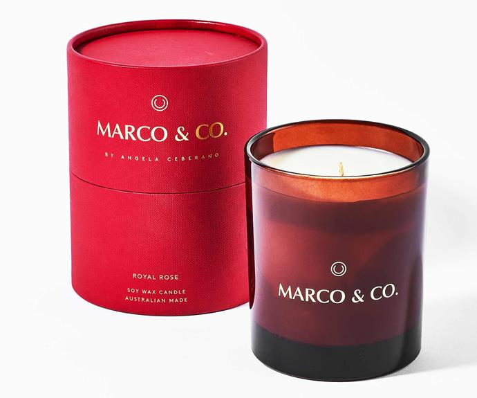 "**Royal Rose 280g Candle, $79, [Marco & Co](https://marcoandco.com.au/collections/frontpage/products/royal-rose|target=""_blank""