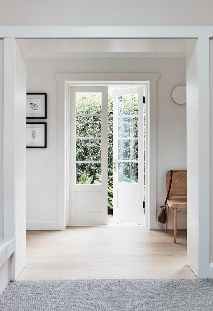 """**Sitting area** This sitting area and its doors to the side path, a vision of natural light and [Dulux](https://www.dulux.com.au/