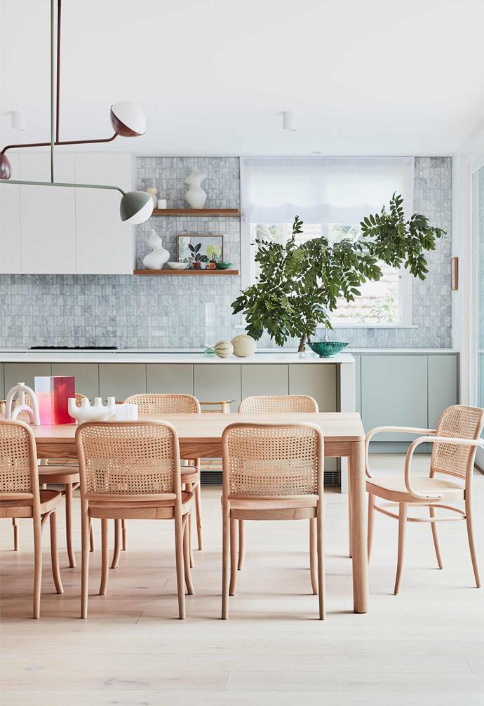 """**Kitchen/dining** The handwoven backs of Thonet 'Hoffmann 811' chairs from [The Wood Room](https://thewoodroom.com.au/