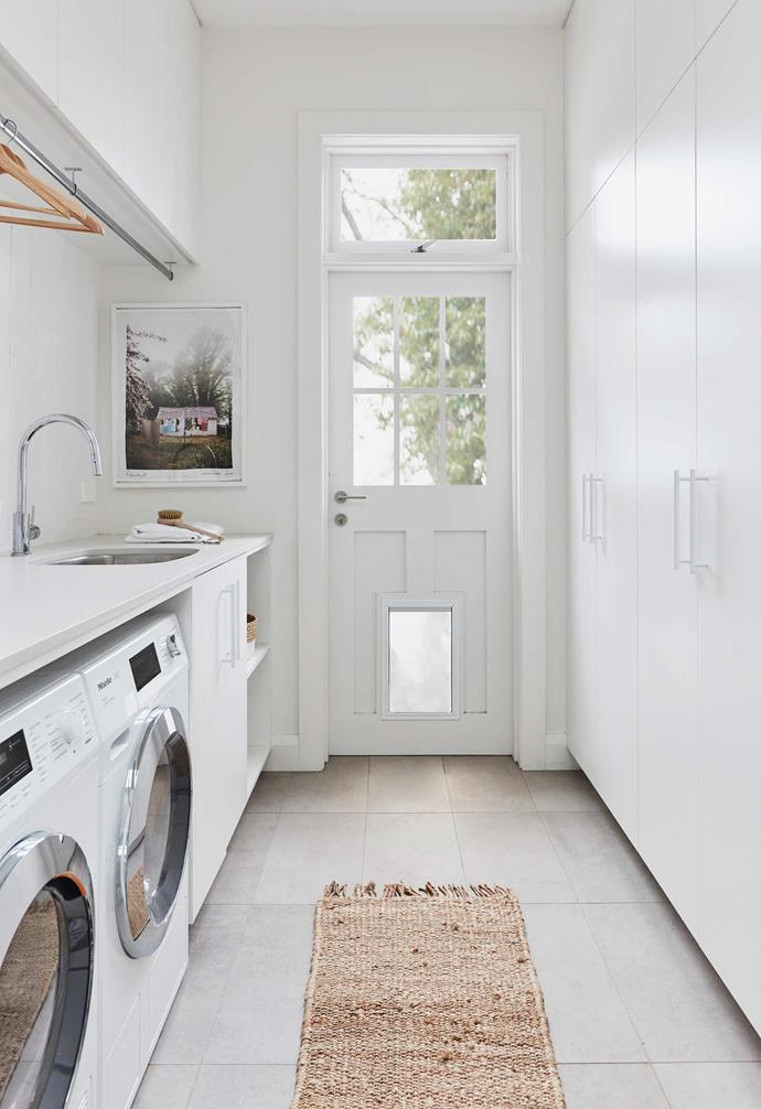 """**Laundry** Stoneclay 'Cendre' porcelain tiles from [Bisanna](https://www.bisanna.com.au/