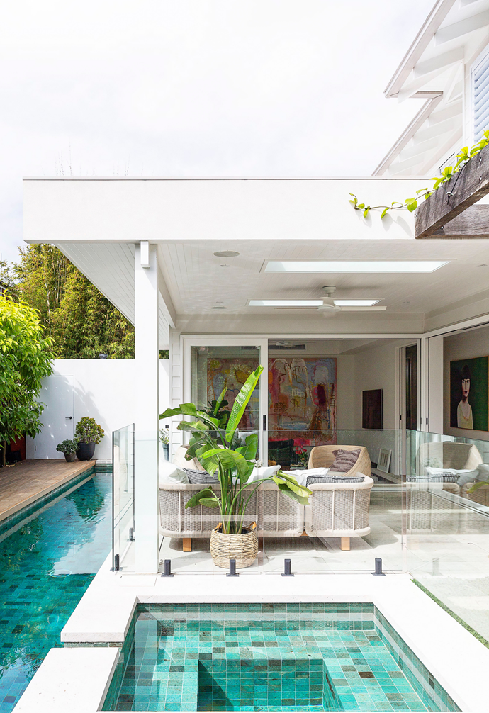 The outdoors and pool area are magnets for Kev, Lou, their children – and a regular stream of their friends. Radiating the feel of a five-star Balinese resort, it's not difficult to see why. Velux skylights further brighten the outdoor lounging area.