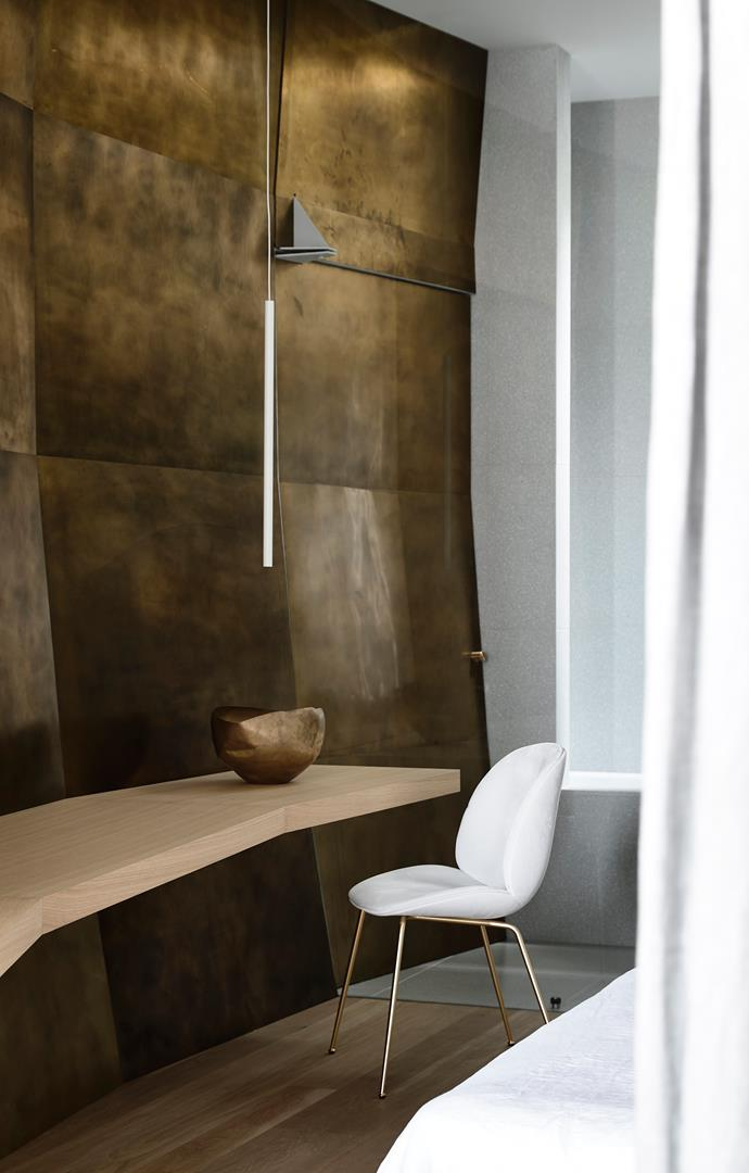 Gubi 'Beetle' dining chair by GamFratesi from Criteria and Davide Groppi 'Miss' pendant light by Omar Carraglia from De De Ce.