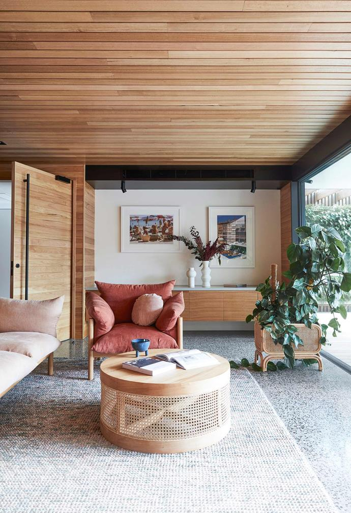"**Family room** This is a chill-out space downstairs. Wilfred sofa and armchair, [Jardan](https://www.jardan.com.au/|target=""_blank""
