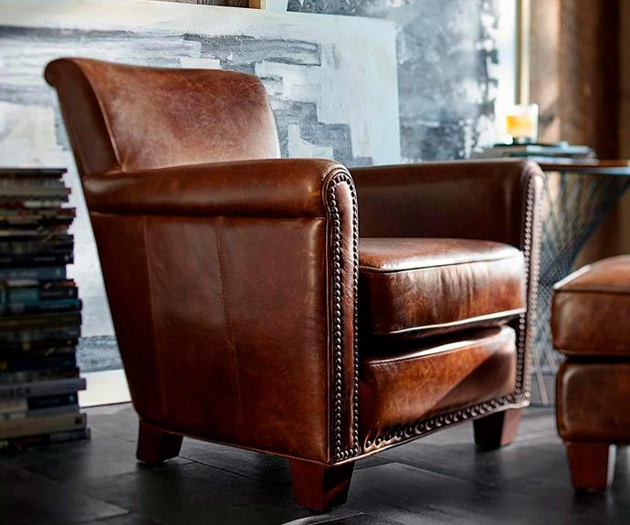 "**Irving Leather Armchair with Nailheads, $1699, [Pottery Barn](https://www.potterybarn.com.au/irving-professor-leather-armchair-nailhead|target=""_blank""