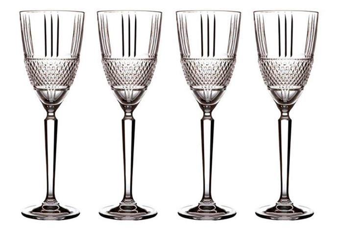"**Maxwell & Williams 225ml Verona Crystal Wine Glass Set, $36.95/set of four, [Catch.com.au](https://www.catch.com.au/product/set-of-4-maxwell-williams-225ml-verona-crystal-wine-glass-set-5690880/|target=""_blank""