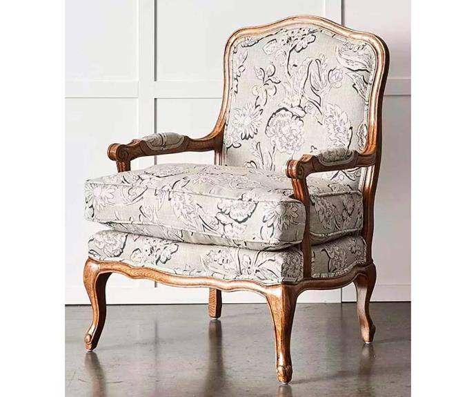 "**French armchair, $999, [Provincial Living](https://www.provincialhomeliving.com.au/french-armchair-1117255826|target=""_blank""